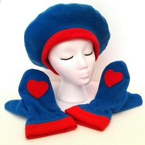 Red Heart Blue Mitts & Beret Set Handmade